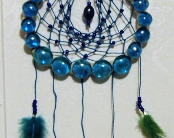 Dream catcher, blue, tear drop