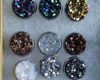 10mm metallic crystal druzy stud earrings in stainless steel posts