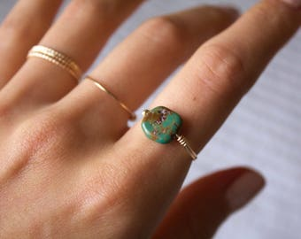 Handmade Jewelry/ Turquoise Statement Ring/ Thin Gold Filled/ Minimalist Ring/ Gift for her/ Dainty Wired Rings/ Delicate/