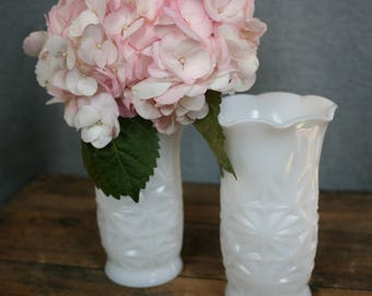 Milk Glass Vases (2) / Vintage Milk Glass / Vintage Vases