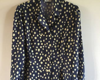 Vintage 80s  Woman Elegant Jacket Romantic  Blouse Dark Blue Yellow Ploka Dot Blouse Size L