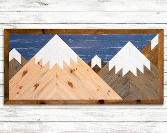 Wooden Mountainscape - Reclaimed Barn Wood Handmade Wall Décor Art Rustic Mosaic Mountains Hanging