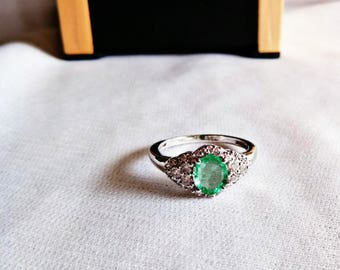 Emerald ring in sterling silver 925, CZ Diamonds, engagement ring, free size ring, solid silver ring
