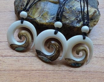 Maori Koru Spiral Bone Necklace with Paua Shell Inlay and Antique Color, Bone Pendant, Bali Bone Carving Jewelry M13
