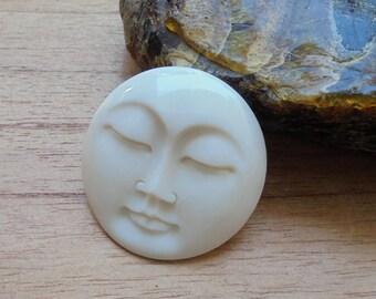 35 mm Moon Face Pendant, Single Face Bead, Bali Bone Carving P344