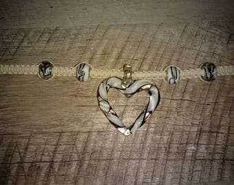 Handcrafted Hemp Necklace with Hand Blown Glass Heart Pendant and Glass Beads