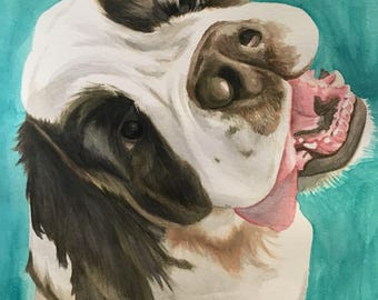 "Custom 9""x12"" Watercolor Pet Portrait"