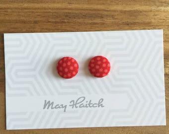 Dottie Red - 12mm stud earrings