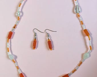 Orange and White necklace w/ earrings