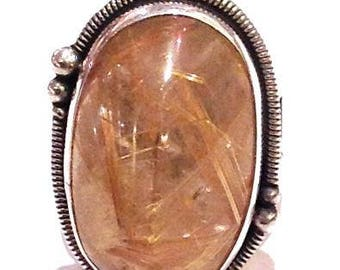 Sterling Silver, Rutilated Quartz Ring