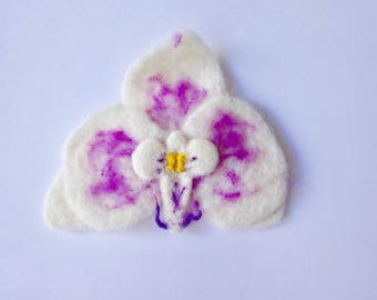 Felt Flower Pin, Corsage, Brooch, White Orchid