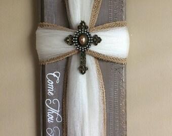 Ribbon cross - Come Thou Fount - Christian Wall Decor - Hymn Decor - Hymnal - Bible Decor - Rustic Home Decor - Fabric Cross - Gift Item -