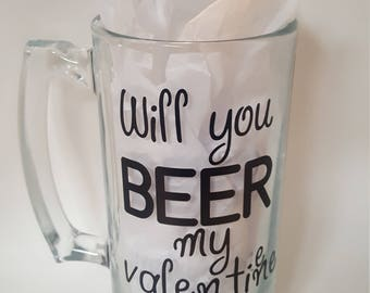 Will you Beer my Valentine Beer Valentines Gift Gifts for Him Be Mine