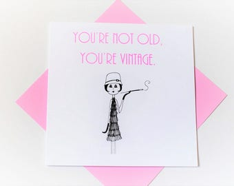 birthday card|age|old|vintage|handmade|card for her|blank greetings card