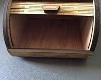 Interesting mini-breadbox style wooden laser cut treasure/note box