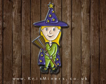 Halloween Friendly Witch Enamel Pin Badge | by Kris Miners