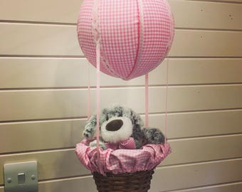 Nursery mobile hot air balloon supplied with teddy