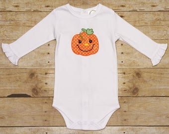 White Ruffle Pumpkin Onesie