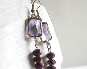 Earrings rectangle purple and gold
