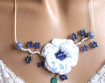 White and blue crochet Flower necklace