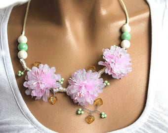 Necklace three inspired pastel flowers