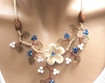 Beige blue and white floral
