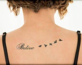 "Misspelled ""Believe"" Temporary Tattoo, Birds Tattoo"