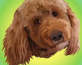 Poster! Handmade Digital Illustrated Dog Portrait