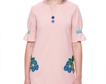 Pink&blue mini size summer dress with embroidered blackberry