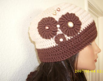 crochet freeform hat and scarf set. decorated scarf and hat set, brown and beige hat and scarf set