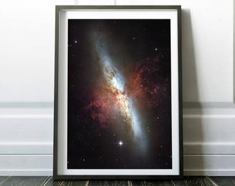 Galaxy print / Space poster / Space print / Galaxy art / Universe print / Outer space art / Nasa poster / Space art  / Hubble telescope