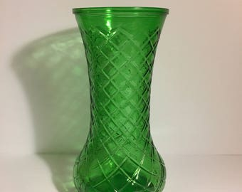 Vintage Hoosier Glass Vase  Diamond Pattern 1920's