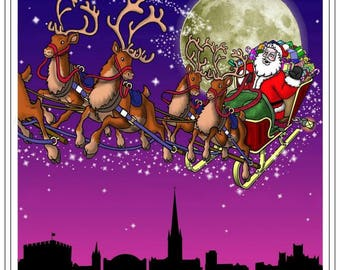 Santa Claus is coming to town - Printable Greeting Card