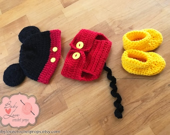Disney Mickey Mouse Ears Infant Newborn Baby Outfit Beanie Hat Booties Shoes Diaper Cover Crochet Photography Photo Prop
