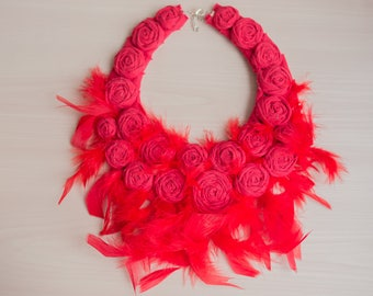 Red Feather Red Statement Bib Necklace Feather Necklace Rosette Necklace Fabric Necklace Fabric Jewelry Textile Necklace Collar Necklace
