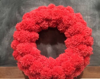 Hand made pom pom wreath
