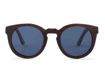 Wooden sunglasses - Courageous Caramel Butterfly - Black glasses
