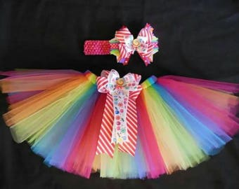 Candy Land tutu and bow set