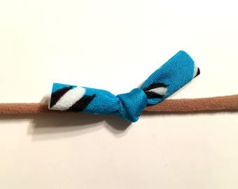 Blue Black and White Little Tie Knot Baby Headband