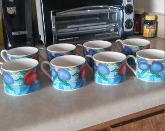 Set of 8 Porcelain Victoria and Beale Floral,  Forbidden Fruit Tea Cups
