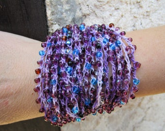 sweet set with crocheted purple beads