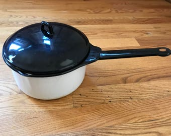 Vintage Black and White Enameled Pan and Lid