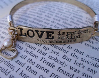 Gold Love is patient, Love is kind engraved bangle bracelet