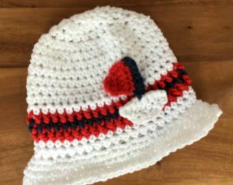 Baby fedora hat-White baby hat-Boy white fedora-baby beach fedora-Boy sailboat hat-Crochet baby hat-Crochet baby hat-White sailboat fedora
