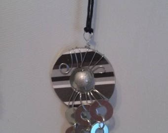 Striped Black and White Washer Pendant Necklace