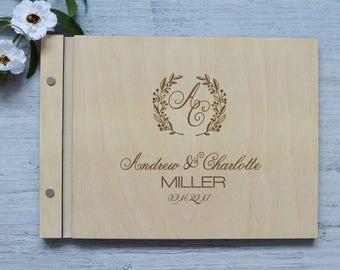 Monogram guestbook, Unique wedding guest book alternatives, Wedding monogram Custom wedding album, Wooden Guestbook, Floral Wedding Album
