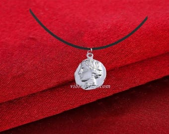 Goddess Artemis & Wolf Reversible Ancient Coin Necklace Pendant