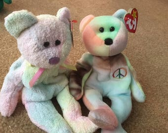 Original TY collector Item Beanie Baby duo (including the rare Peace Bear)