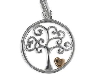 Tree In circle with Two-Tone heart sterling Silver Pendant