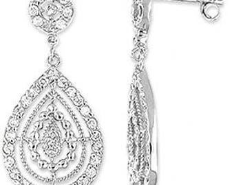 Silver Earrings With Cubic Zirconia (ez632)